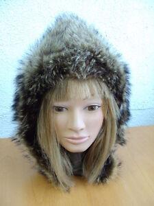 EXCELLENT NATURAL RACCOON FUR HOOD HAT CAP WOMEN WOMAN CHILDREN SIZE XS