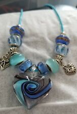 Lampwork Glass Heart Pendant, beads, alloy charms on cord/ribbon; gift boxed