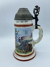 Artillerie Regimental Beer Stein Lithophane Porcelain Pewter Lid Luitpold Battle
