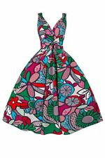 Rockabilly Ladies 50s Retro Vintage Floral Cotton Swing Pin up Party Dress Funky Green 16