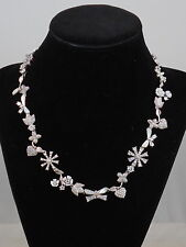 Betsey Johnson Blue Bridal Vintage Floral Collar Crystal Necklace F1b