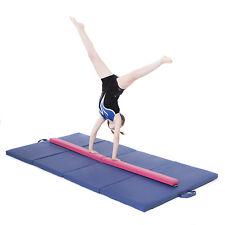 Pink Large 8ft Gymnastics Folding Balance Beam 2.4M Faux Leather Gym Training