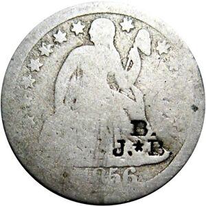 1856 Seated Dime Counterstamp B. J. Star B.