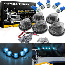 5x Smoke Cover Lens Cab Roof Marker Light Kit Ice Blue for 73-87 Chevy GMC C/K