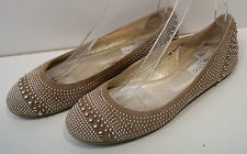 JIMMY CHOO Beige Suede WELDA Metallic Studs Flat Ballerina Pump Shoes EU39 UK6