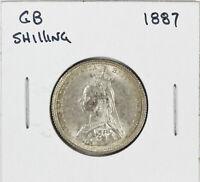 1887 Great Britain UK Silver Shilling Victoria
