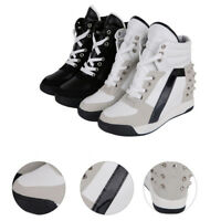 High Sneakers Platform Heel Size Trainer Shoes Wedge Lace Top Hidden Up Sports