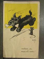 cpa illustrateur signee lacroix chien chat humoristique marche noir