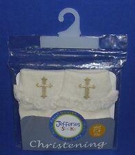 Christening Socks Pearl White Embroidered Cross Lace Trim Girl Infant Baptism #1