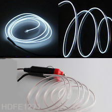 3M White Glow LED Light El Wire Cold Strip Rope Car Decor 12V Cigarette Lighter
