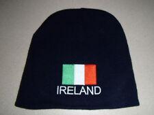 Irish Ireland Flag on Navy Knit Beanie Hat Embroidered