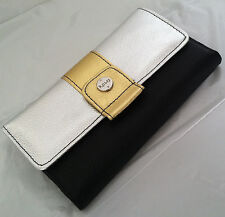 New Rolfs Women Leather Clutch Checkbook Wallet Gold And Silver Organizer