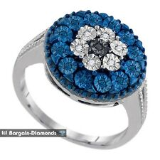 blue diamond .12 carat flower cluster right-hand ring love promise 925 silver