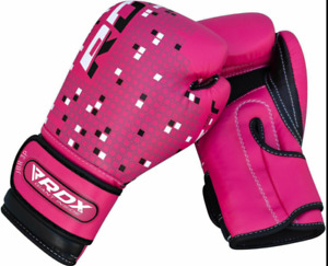 NEW RDX 3B JBR PINK Leather Boxing Gloves Kids Punching MMA Fight Mitts 6 OZ