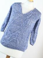 TU Blue Textured Womens Jumper Size 8 (Regular)
