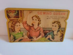 "Antique Sewing Susan""10 Gold-Eyed Needles"" Cardboard Advertising Needle Holder"