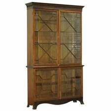 Circa 1840 Solid Mahogany Astral Water Glazed Victorian Library Bookcase