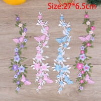 Butterfly Flowers Embroidery Sew On Patches Sewn Applique Sew Badge Embroi Dz