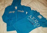 Girls lot Aeropostle Aqua blue zip hoodie and tshirt Junior Siz XS