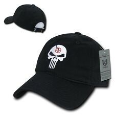 Rapid Relaxed Graphic Punisher Skull Washed Cotton Baseball Caps Hats