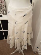 "Ladies ""Monsoon"" White 100% Cotton Skirt w/Blue flower design (Size 10)"