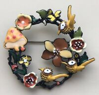 Unique wreath  birds mushroom flower brooch in enamel on metal