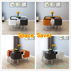 Space Saver Modern Glass Dining Table and 4 Chairs Set Kitchen Dining Room Cafe