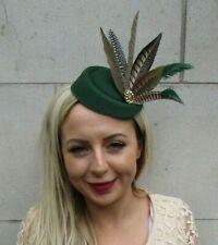 Bottle Dark Green Brown Pheasant Feather Pillbox Hat Fascinator Hair Clip 7226