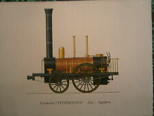 Planche gravure publicitaire locomotive train : Stephenson 1830 Angleterre