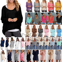 Womens Long Sleeve Loose Tunic Mini Dress Knitted Sweater Casual Pullover Jumper