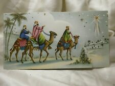 Holiday Seasonal Card Christmas Greeting Three Kings Star City Story Vintage