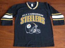 Vtg GTS PITTSBURGH Steelers Black Jersey T Shirt Youth 14/16 Boys L Wms M