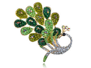 Peridot Fashion Simple Crystal Rhinestone Peacock Feather Bird Design Pin Brooch
