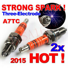 2x A7TC Motorcycle Spark Plug 50cc-125cc ATV Dirtbike Moped Scooter 3-Electrode