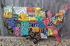 LARGE CUTOUT LICENSE PLATE MAP- METAL WALL ART-  ALL 50 STATES!  (Pub Bar Art)
