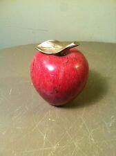 Vintage Dark Red Solid Marble/Rock Apple-Solid Brass Leaf & Stem- Paperweight