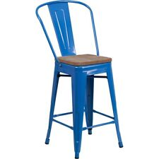 "Flash Furniture 24"" Blue Metal Counter Ht. Stool w/Back - CH-31320-24GB-BL-WD-GG"