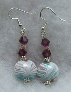 TURQUOISE,AMETHYST AND WHITE SWIRLS LAMPWORK GLASS EARRINGS