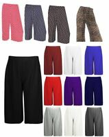 Womens 3/4 Elasticated Stretch Culottes Ladies Wide Leg Palazzo Shorts Plus Size
