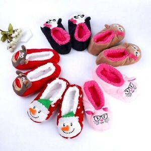 Warm Flat Soft Sole Women Indoor Floor Slipper Animal Shape Black Pink Red Home