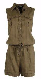 $150 Ralph Lauren Sleeveless Cargo Collared Linen Safari Romper Jumpsuits Petite