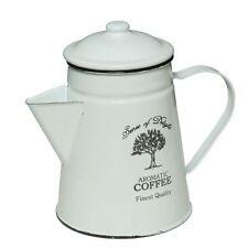 Kaffeekanne Kanne EMAILLE ! Shabby Chic Landhaus Nostalgie weiß *NEUWARE* 1,2L