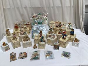 Job Lot of 19 Cherished Teddies Boxed Ornaments Badges Frames Display Scenes