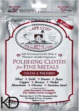 Cape Cod Polishing Cloths for Fine Metals Pack of 2  Cleans Polishes Oyster KD89