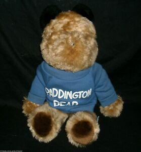 "13"" VINTAGE EDEN BROWN PADDINGTON TEDDY BEAR STUFFED ANIMAL PLUSH W BLUE SHIRT"