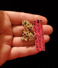 Betsey Johnson Gold Tone w/ Rhinestones Puppy Dog Small Brooch Pin -  ***NWT**