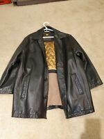 Andrew Marc New York Black Leather Jacket, SIZE LARGE Heavy Winter Leather