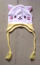 Bananya Ears beanie, knit winter hat, yellow & white kitty w/ braided tassels