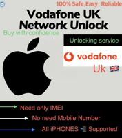 Vodafone Uk iPhone 11/11 Pro,XS,XR,X to All Unlocking Service Only IMEI REQUIRED
