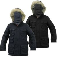 BOYS KIDS WARM WINTER PADDED PARKA JACKET FUR HOOD BRAVE SOUL SCHOOL COAT